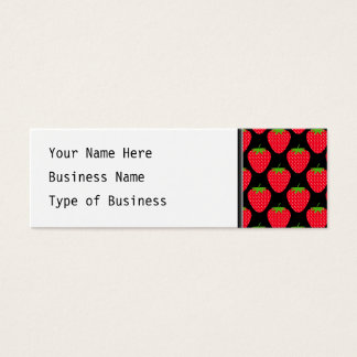 Pattern of Red Strawberries on Black Mini Business Card