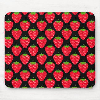 Pattern of Red Strawberries on Black Mouse Pads