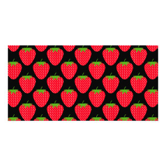 Pattern of Red Strawberries on Black Photo Cards