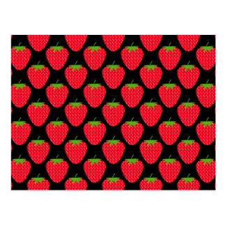 Pattern of Red Strawberries on Black Postcard