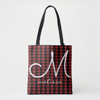 pattern of reddish lips beauty monogram tote bag