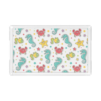 pattern of sea creatures acrylic tray