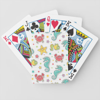 pattern of sea creatures bicycle playing cards
