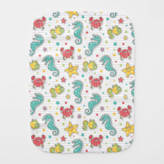 pattern of sea creatures burp cloth