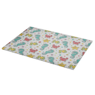 pattern of sea creatures cutting board
