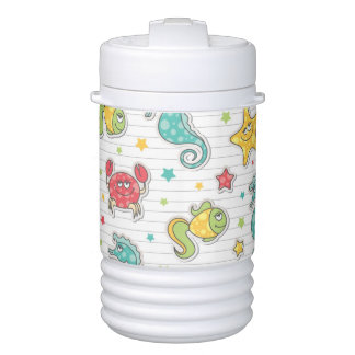 pattern of sea creatures drinks cooler