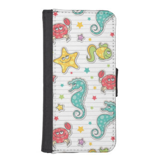 pattern of sea creatures iPhone SE/5/5s wallet case