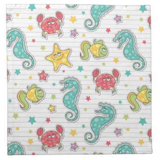 pattern of sea creatures napkin