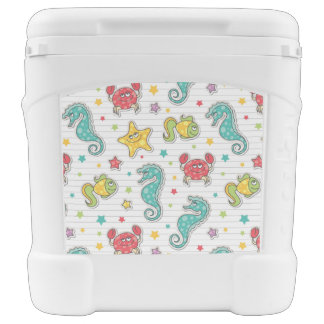 pattern of sea creatures rolling cooler