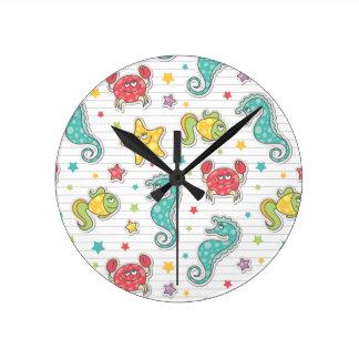 pattern of sea creatures round clock