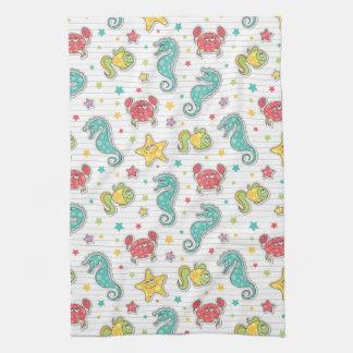 pattern of sea creatures tea towel