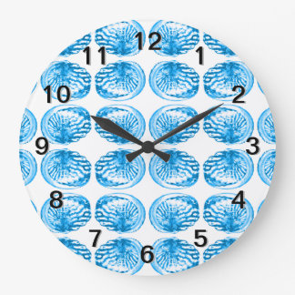 Pattern of Shells in Bright Blue. Large Clock