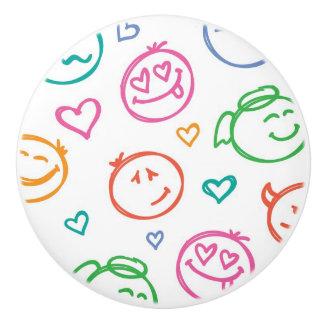 pattern of smiles ceramic knob