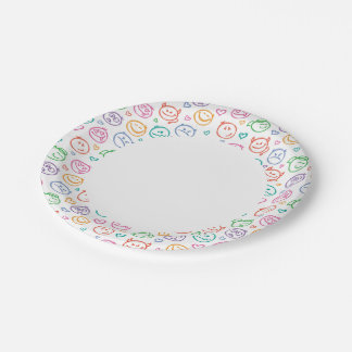 pattern of smiles paper plate