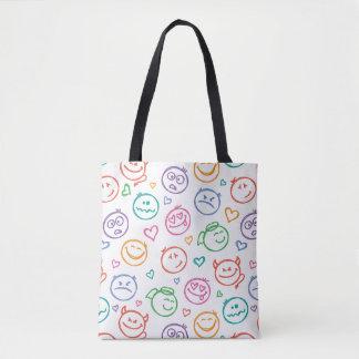 pattern of smiles tote bag