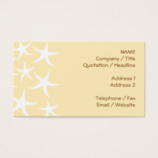 Pattern of Starfish in White and Yellow. Business Card
