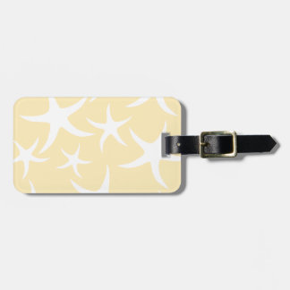 Pattern of Starfish in White and Yellow. Luggage Tag
