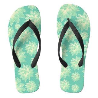 Pattern of succulents flip flops