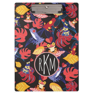 Pattern Of The Lovers Frogs | Monogram Clipboard