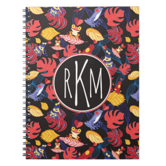 Pattern Of The Lovers Frogs | Monogram Spiral Notebook