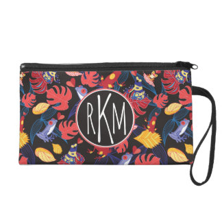 Pattern Of The Lovers Frogs | Monogram Wristlet Purse