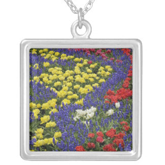 Pattern of tulips and Grape Hyacinth flowers, 2 Silver Plated Necklace