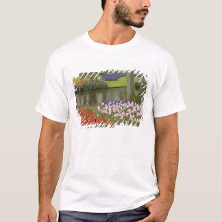 Pattern of tulips and grape hyacinth flowers, T-Shirt