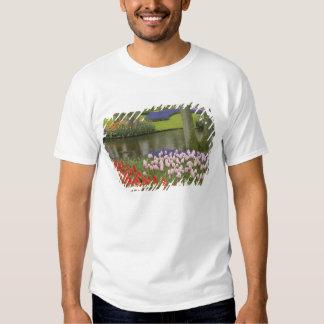 Pattern of tulips and grape hyacinth flowers, t-shirts