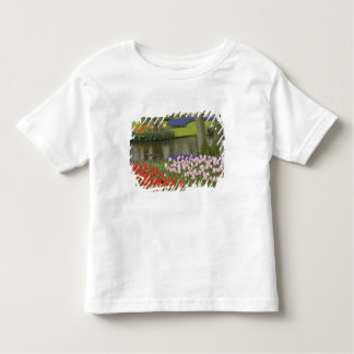 Pattern of tulips and grape hyacinth flowers, toddler T-Shirt