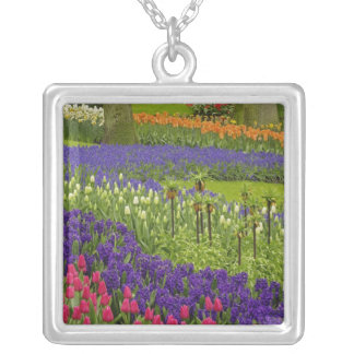 Pattern of tulips hyacinth, and Grape Hyacinth Silver Plated Necklace