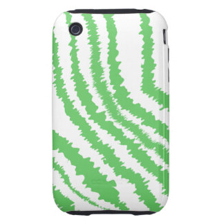 Pattern of Wavy Green Stripes. iPhone 3 Tough Cover