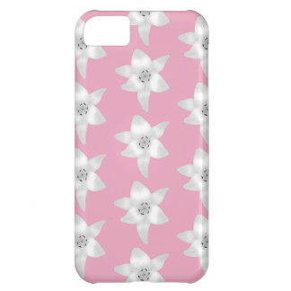 Pattern of White Lilies on Pink. iPhone 5C Case
