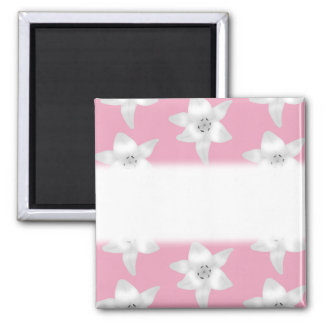 Pattern of White Lilies on Pink. Square Magnet