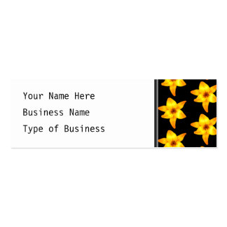 Pattern of Yellow Lilies on Black. Pack Of Skinny Business Cards
