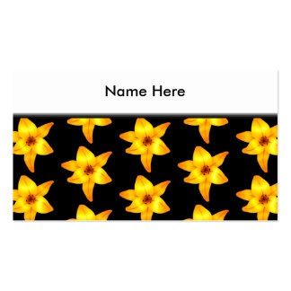 Pattern of Yellow Lilies on Black. Pack Of Standard Business Cards