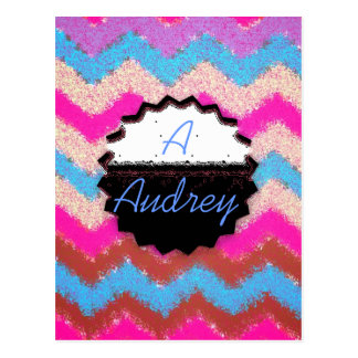 Pattern Office Party Peace Chevrons Monogrammed Postcard