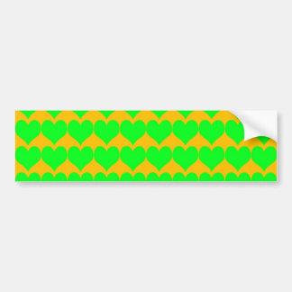 Pattern: Orange Background with Green Hearts Bumper Sticker