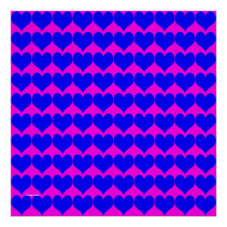 Pattern: Pink Background with Blue Hearts Print