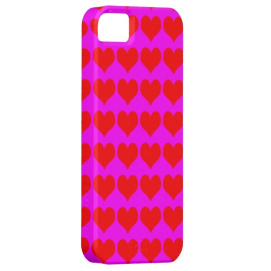 Pattern: Pink Background with Red Hearts iPhone 5 Cover