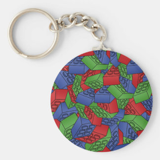 Pattern - Primary Colors Building Blocks Basic Round Button Key Ring