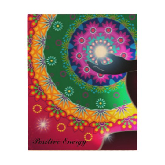 Pattern Print Colourful Positive Energy Typography Wood Canvas