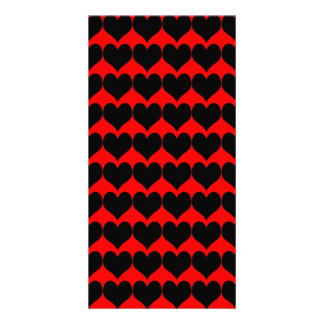 Pattern: Red Background with Black Hearts Custom Photo Card