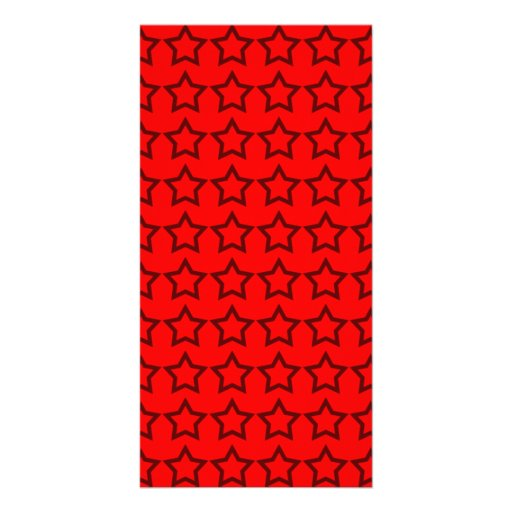 Pattern: Red Background with Black Stars Photo Greeting Card
