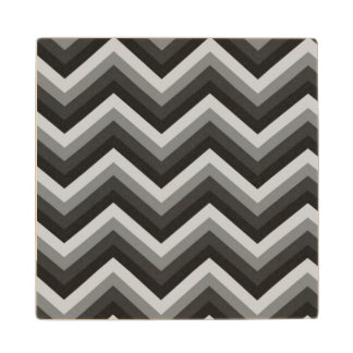 Pattern Retro Zig Zag Chevron Wood Coaster