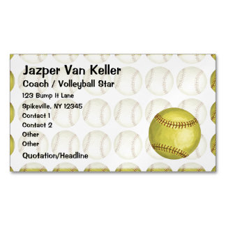 Pattern Softball Magnetic Business Card