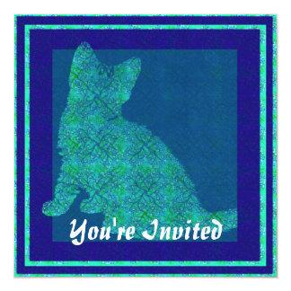 Pattern Stamp Cat Invitations