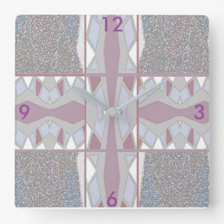 Pattern Wall Clock-Home Decor- Mauve,/White/Gray Square Wall Clock