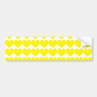 Pattern: White Background with Yellow Hearts Bumper Sticker