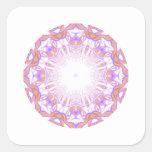 Pattern. White, Orange and Purple. Square Stickers