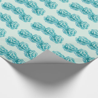 Pattern with 3 Teal Watercolor Roses Wrapping Paper